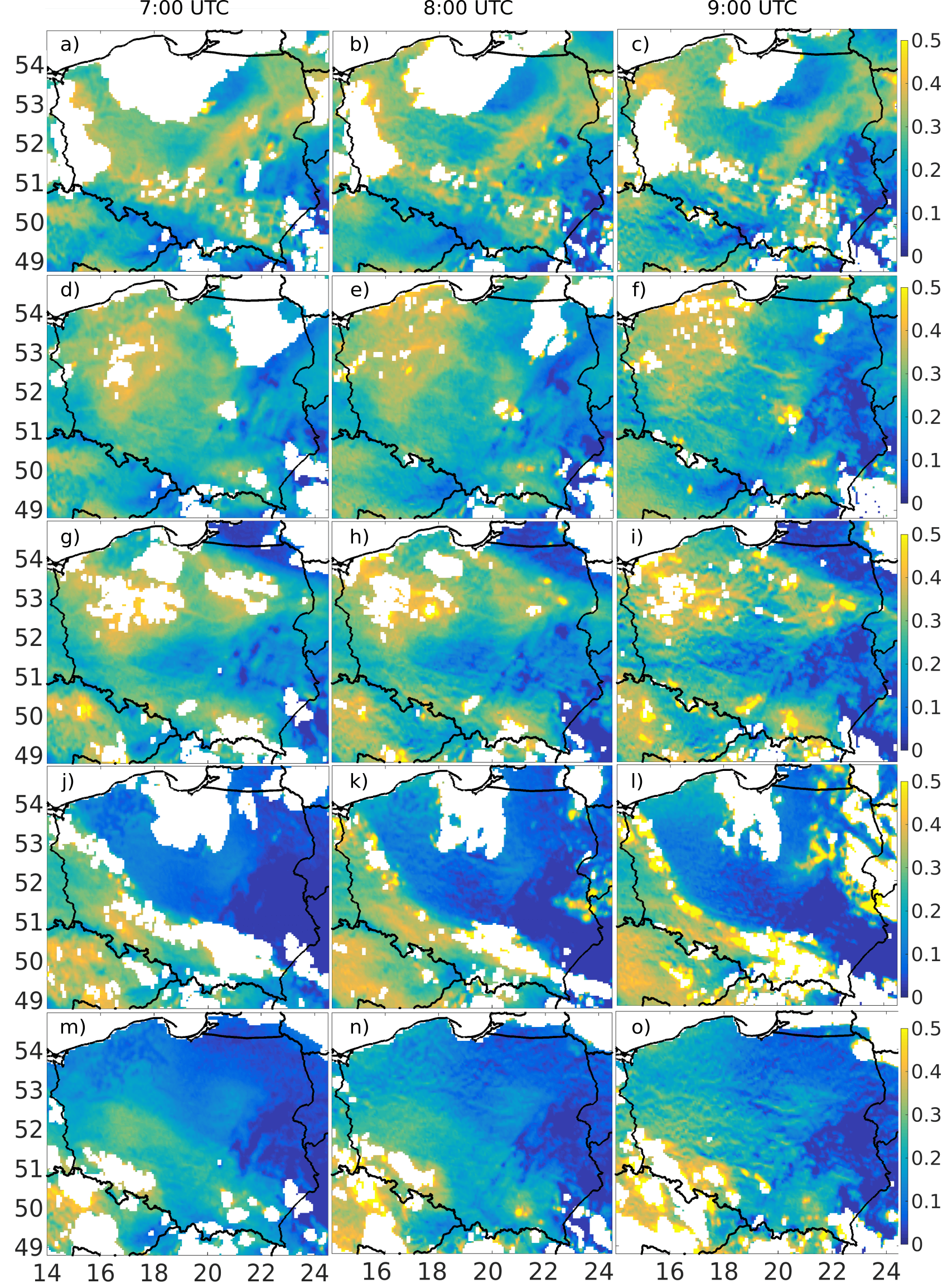 Aerosol optical depth obtained over Poland from SEVIRI sensor at 635 nm calculated for 15 min at 7:00, 8:00 and 9:00 UTC (in columns) on 11-14 and 16 September 2016 (in rows); white pixels are due to clouds.
