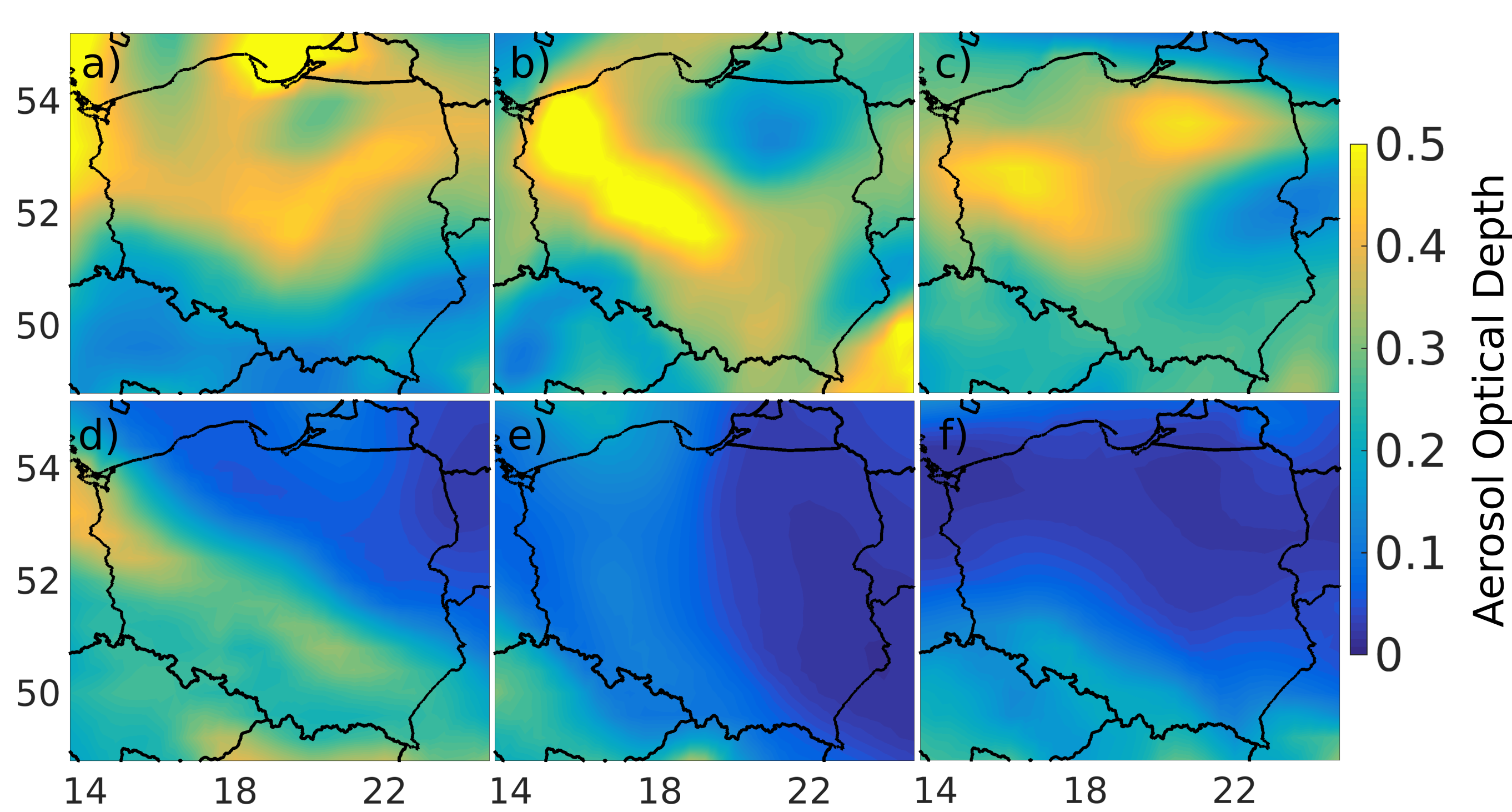 Fig. 2: Aerosol optical depth at 550nm forecast by CAMS at 6:00 UTC on 11-16 September 2016, from upper left following rows (data source: http://atmosphere.copernicus.eu).